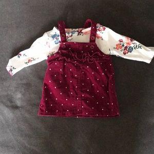 Newborn Burgundy overalls dress and matching shirt